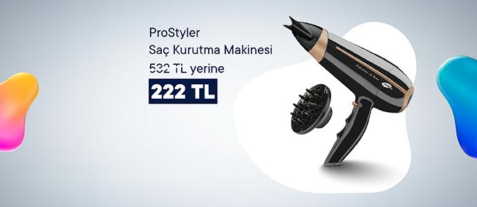 ProStyler Saç Kurutma Makinesi 532 TL yerine 222 TL, 5 TL Chippin hediye